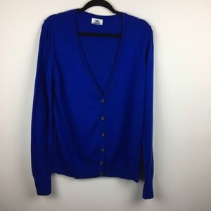 Royal Blue Button Down Long Sleeve Cardigan V Neck